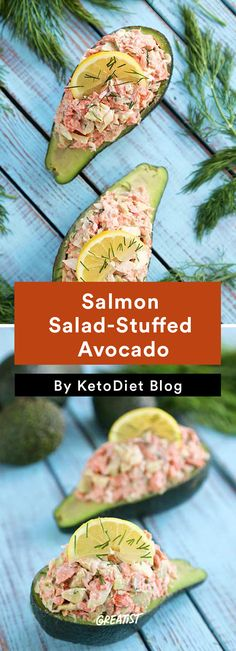 Stuffed Avocado: Salmon Salad
