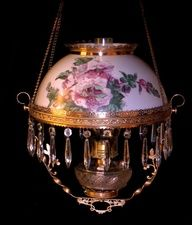 ANTIQUE MILLER  HANGING OIL LAMP W /PAINTED FLORAL SHADE
