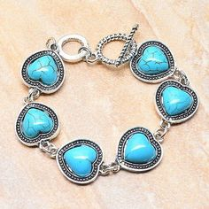 Turquoise Heart Bracelet - pinned by pin4etsy.com