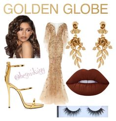 """Zendaya."" by missmkayy on Polyvore featuring Coleman, Marchesa, Giuseppe Zanotti, Oscar de la Renta, Lime Crime, Huda Beauty and GoldenGlobes"