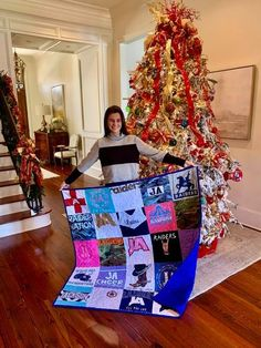 Isabelle's Cheer quilt made from her uniforms and pep rally shirts that I have saved throughout the years. Thank you Molly she was thrilled🎄❤️Memory Quilts by Molly! Memory Quilts, Pep Rally, Quilt Making, Making Out, Cheer, How To Memorize Things, Memories, Fabric, Handmade