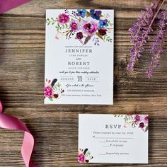spring magenta shades of purple wedding invitations EWI423 as low as $0.94 |