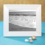 Exclusively Weddings Names in the Sand - Black and White Custom Seaside Photo. Personalization includes 2 first names with a heart. Gifts For Wedding Party, Party Gifts, Our Wedding, Dream Wedding, Wedding Stuff, Destination Wedding, Honeymoon Tips, Memory Frame, Kids Sleep