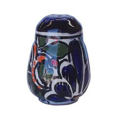 A Mexican talavera salt shaker belongs to our rustic home decor category. Its green and cobalt pattern painted over white background will add flair to the living space. by Rustica House #myRustica