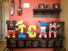 Disney Inspired 8 inch Painted Letters Mickey, Donald, Pluto & Goofy Name Words. $15.00, via Etsy.