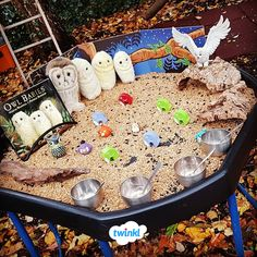 Owl Babies Tuff Tray and Small World. Explore the classic story, Owl Babies, in a new and creative w Owl Activities, Infant Sensory Activities, Nursery Activities, Baby Sensory, Autumn Activities, Owl Babies, Baby Owls, Creative Area Eyfs, Curiosity Approach Eyfs