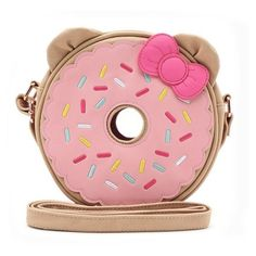 Loungefly x Hello Kitty Donut Crossbody Bag ❤ liked on Polyvore featuring bags, handbags, shoulder bags, red cross body purse, crossbody shoulder bag, hello kitty shoulder bag, faux leather crossbody and red shoulder bag