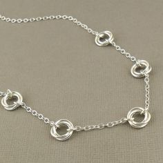Love Knot Necklace, Sterling Silver Necklace 925, Mobius Flower Chainmaille, Silver Jewellery, Chainmaille Jewellery