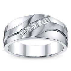14K White Gold Diamond Wedding Band 1/3 Carat Total Weight