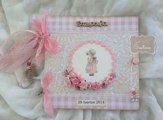 βιβλίο ευχών βάπτισης &quot Sarah Kay, Vintage Crafts, Christening, Mini Albums, Gift Wrapping, Birthday, Frame, Party, Girl Baptism