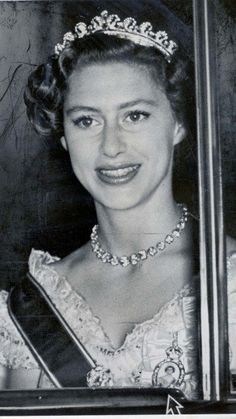 Princess Margaret with the tiara at a state dinner at Buckingham Palace in 1954.