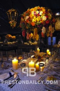 Preston Bailey Event Ideas, Preston Bailey, Autumn Centerpiece, Autumn Floral Centerpiece, Floral Centerpiece, Red Orange and Yellow Centerp...