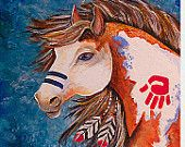 Native American-Pinto-Painted Horse- signed print