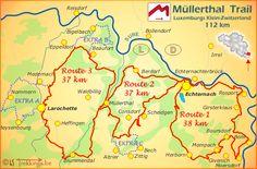 Müllerthal Trail Luxemburg wandelen Hiking Routes, Hiking Trails, Tourist Map, Eifel, Living In Europe, Thru Hiking, Hiking Backpack, Trail Running, Backpacking