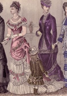 """Fashion Plate of Evening Dresses: March 1880, """"Godey's Lady's Book,"""" """"Figure 1: Evening dress of white and pink; the underskirt is of white satin, kilted in front, and trimmed with Mechlin lace, and a garland of pink roses. The overdress is of pink silk, is made like a polonaise, low neck and short sleeves, and is trimmed to correspond with underskirt with lace and flowers. Low corsage and short sleeves, with bertha of lace and flowers. Flowers on dress to match those on hair."""""""