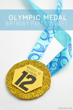 Olympic birthday party medal invites www.clubchicacircle.com #olympics  #kidsparties