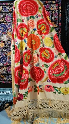 Antique Beautiful Hand Embroidered Spanish Manton ShawlSOLD ~ CAROLYN FORBES / TEXTILES