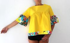 HELLO SPRING ♥ HELLOW YELLOW ♥ Amazing New Design ♥ YELLOW RUFFLE BLOUSE ♥ WOOOW , WE ARE IN LOVEEEE ♥♥♥ Made from lovely cotton fabric , this top is one of the MUST HAVE for this Spring Summer ! Wear it with shorts, jeans, long skirts, mini skirts, leggings ♥ Fabrication