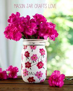 Marimekko Mason Jar - Mason Jar Crafts - Painted Mason Jar - Pink Flower Painted…