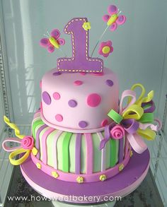 1st birthday cakes for girls | first birthday cake with large number one and butterflies on top