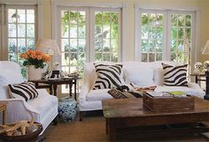 Suzie: Beautiful Living Room  Beautiful coastal living room design with crisp white sofas with ...