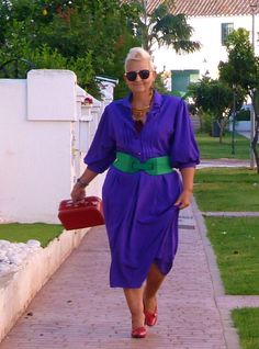 Vintage Purple Shirt Dress   Green and Red