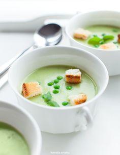 Zupa krem porowo-ziemniaczana z groszkiem