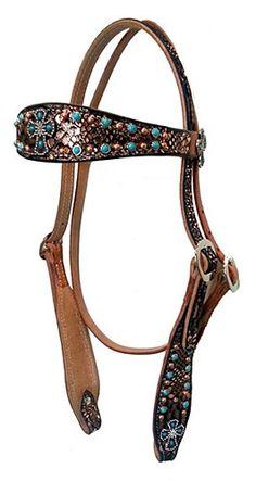 San Saba Equine Mystic Copper Python Browband Headstall $159.99