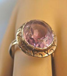 Lovely Larger Edwardian Pierced 14k AMETHYST Ring