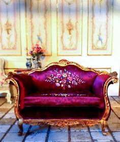 Good Sam Showcase of Miniatures. (Beautiful rich coloured sofa by Maritza Moran. French hand painted silk chemise)