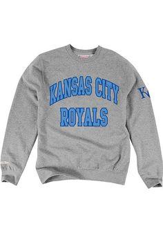 Mitchell and Ness Kansas City Royals Mens Grey Season Start Long Sleeve Fashion Sweatshirt - 56500299