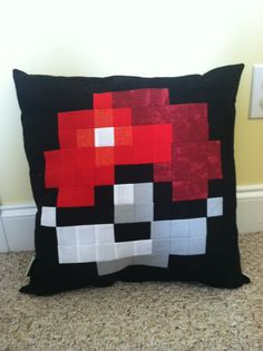 Pokemon inspired Pokeball Throw pillow
