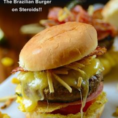 X-Tudo -- The Brazilian Burger on Steroids! Recipe Lunch, Main Dishes with ground chuck, salt, freshly ground black pepper, garlic powder,…