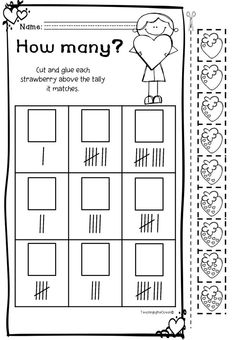 Valentine's Counting Worksheets (Kindergarten) Spelling Worksheets, Kindergarten Worksheets, Valentine Theme, Valentines, Counting Activities, Names, Teaching, Writing, Valantine Day