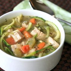 """Chicken Zoodle Soup I """"I really like this soup a lot, thank you! An excellent low carb, healthy option."""""""