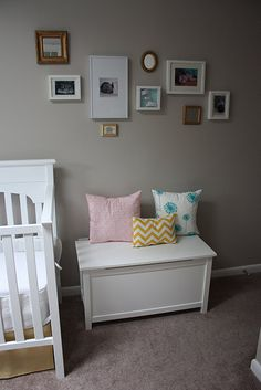 cute for baby's room with ultrasound pic, hospital bands, and pictures...