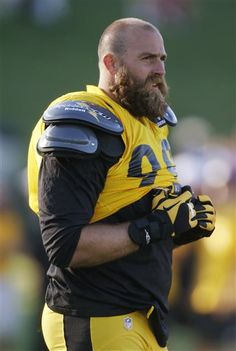 beardedandburly: Brett Keisel, American football player for the Pittsburgh Steelers. He's just 6 ft 5 in (1.96 m) and weighs 285 lb (129 kg...