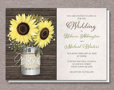 Rustic Burlap & Lace Tin Can Sunflower Wedding Invitations