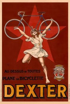 Dexter Cycles poster by Mich France - Beautiful Vintage Poster Reproduction. French cycles poster features a  woman holding up a bicycle on a red star background. Giclee Advertising Prints. Classic Posters