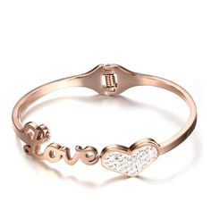 Rose Gold Crystal Bracelet Cuff Bangle Stainless Steel Love Heart Jewelry for Women