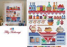 Sizler çinileri izlerken, ben biraz mutfağa geçiyorum :) Designed and stitched by Filiz Türkocağı...
