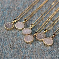 "Round Agate Druzy Geode Necklace Chain length: 18"" ***Colors will vary***"