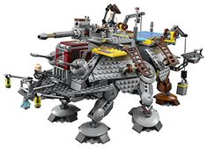 Features a rotating top-mounted gun with spring-loaded shooter and extra ammo, 2 cranes, 4 ladders, movable legs, opening cockpit with space for a minifigure, opening rear top section, opening rear access door with 3 clones, and a built-in lifting handle Weapons include 2 blasters, 2 blaster rifles and Fifth Brother's Light saber Includes 5 minifigures: Captain Rex, Commander Gregor, Commander Wolffe, Imperial Inquisitor Fifth Brother and a Storm trooper.  toys4mykids.com