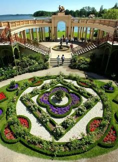 The sculpted gardens of the Schwerin Castle in Mecklenburg-Vorpommern state, Germany.
