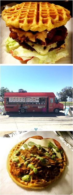 What do you prefer? Waffle burgers or a grilled chicken, basil pesto, Swiss and tomatoes on fresh waffle! Yay! WaflTruk!