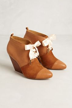 Gwen Booties #anthropologie Love these. Bonus: change out the ribbons to match any outfit:)