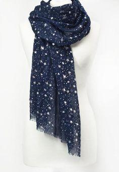 Navy Blue Grey Silver Foil Sparkle Speckles Glitter Scarves Wrap Scarf Festive