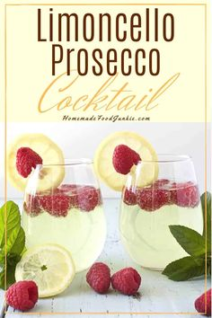 The Limoncello Prosecco cocktail is a sweet bubbly drink that is refreshing and . - The Limoncello Prosecco cocktail is a sweet bubbly drink that is refreshing and light. Limoncello Cocktails, Prosecco Drinks, Prosecco Cocktails, Cocktail Drinks, Easy Cocktails, Sangria, Aperitif Drinks, Most Popular Cocktails, Cocktails For Parties