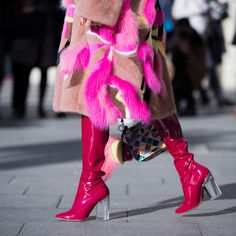 Pink patent Dior boots + faux fur coat spotted on the streets of Paris