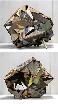 GEOMETRIC WOODEN SCULPTURES BY AARON MORAN- ENRICHMENT COULD USE WOULD PEICES BUT MUST END UP W/ CLOSED SHAPE